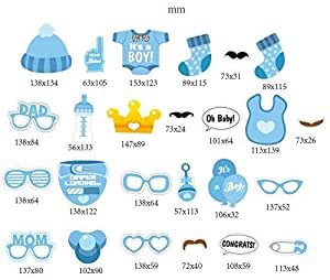25pcs Baby Shower Photo Props Baby Bottle Masks Photobooth Props It's A Boy Baby Shower Party Photo Booth Props Kits Party Decorations