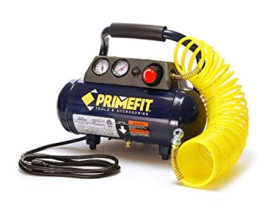 Primefit CM00301 125 PSI Home Workshop Air Compressor, 1 Gallon with Regulator and Control Panel and 25-Foot Air Hose