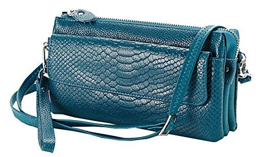 Heshe Genuine Leather Crocodile Clutch Organizer Purse Shoulder Crossbody Wrislet Bag Satchel Purse Handbag for Women (Sea Blue)