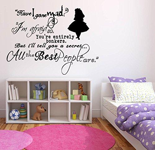 Wall Sticker Decals Alice In Wonderland Cartoon Rabbit Tea Time Cheshire Cat Girl Nursery Bedroom 1393b]()