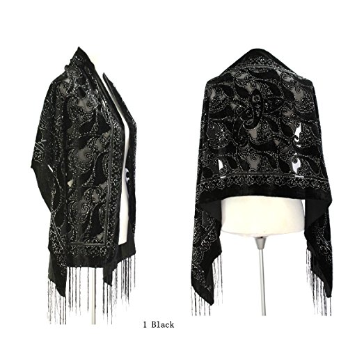 Velvet Beaded Scarf (New Elegant Gorgeous Black Color Vintage Floral Beaded Silk Burnout Velvet Shawl Wrap)