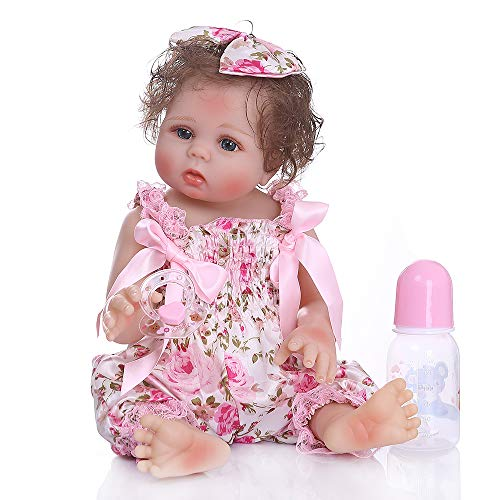 (iCradle 18''45cm Bebe Realistic Reborn Baby Girl in Pink Flowery Dress Full Body Soft Silicone Anatomically Correct)