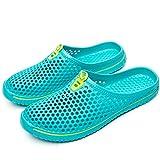 SONLLEIVOO Unisex Garden Clogs Slippers Summer Breathable Mesh Shoes Beach Slippers Quick Drying Sandals Mules for Men Women(Light blue-37)