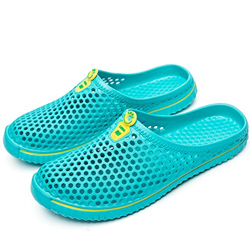SONLLEIVOO Unisex Garden Clogs Slippers Summer Breathable Mesh Shoes Beach Footwear Slippers Quick Drying Sandals for Couple(Light blue-43) -