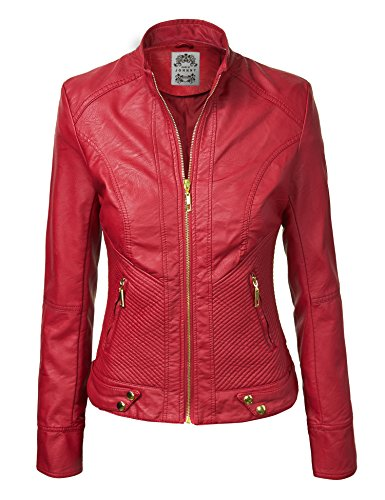 MBJ WJC747 Womens Dressy Vegan Leather Biker Jacket XXL RED