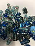 Lamp Work hand made Glass Beads Blue 50pc mix offers