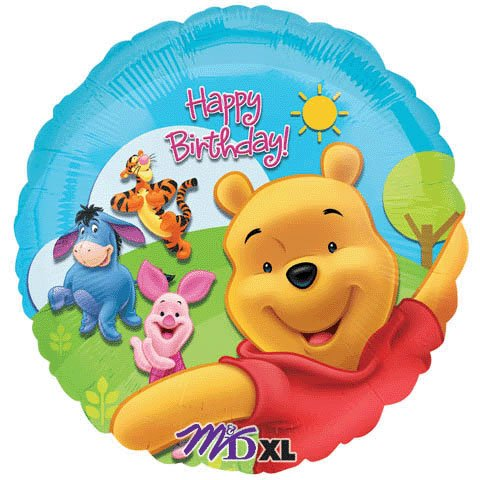 Anagram 18 Inch Circle Foil Balloon - Pooh & Friends Sunny Birthday