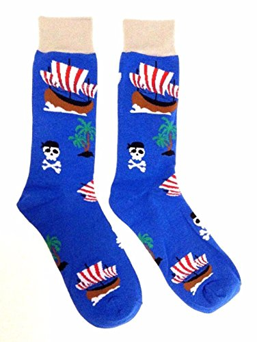 Novelty Fine Fit Crew Socks - Mix Prints (Blue Pirate Ship Deserted Island) -