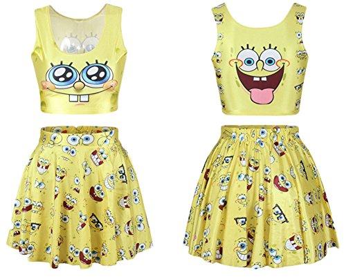 [Shmily_B Women's Galaxy Digital Print Reversible Crop Tank Top+Pleated Skater Skirts Set] (Spongebob Dress)