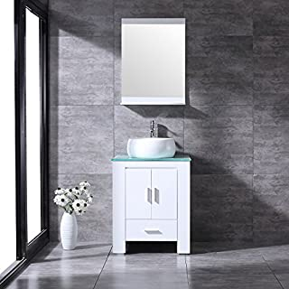 BATHJOY 24 Inches White Bathroom Vanity Set Wood Cabinet Top Round Ceramic  Vessel Sink Faucet Combo