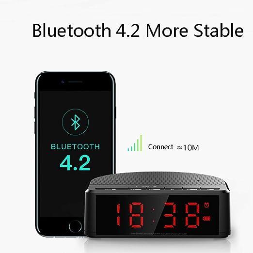 LEDU Altavoz Bluetooth, Reloj Despertador Musical, Carga de teléfono inalámbrico, minitarjeta, Radio FM, Altavoz portátil de Karaoke para el hogar: Amazon.es: Hogar