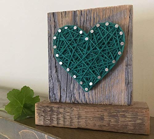 Sweet & small freestanding wooden green heart gift. String art heart sign. Gifts for Valentine's Day, home accents, Wedding favors, Anniversary gifts, St. Patrick's Day, and nurseries.