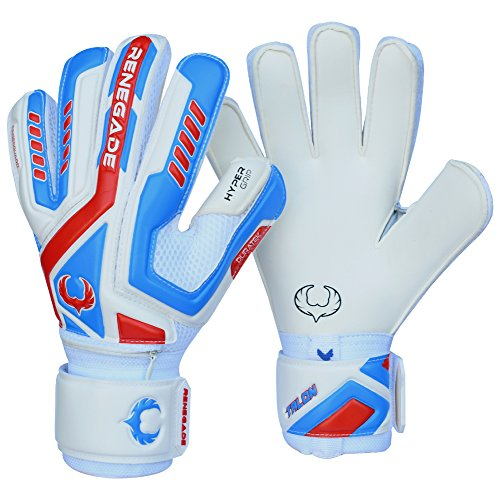 Renegade GK Talon Mirage Flat Cut Level 2 Adult & Kids Goalie Gloves Soccer with Fingersaves - Girls & Boys Soccer Goalie Gloves Fingersave - Size 7 Goalie Gloves - White, Blue, Red ()