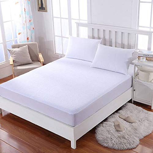 Mattress Protector Olympic Queen Size (+14 Inch Drop) White Solid 100% Anti-Allergy, Anti-Bacterial, Dust Mites Resistance, Terry Cotton Fitted Style