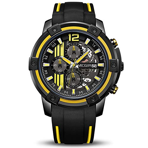 MEGIR Men's Analogue Sport Quartz Wrist Watches with Soft Yellow/Black Silicone Strap Chronograph Luminous Auto Calendar Waterproof Function (2097 Yellow)