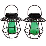 Sunnydaze Outdoor Solar Lantern Light (Set of 2), Hanging Garden LED Decorative Caged String Lights with Green Vintage Style Bulb