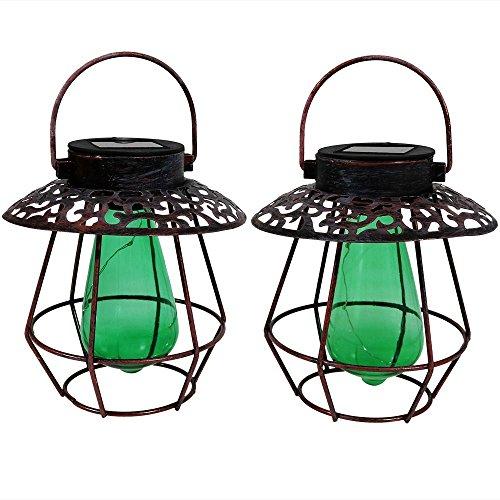Sunnydaze Outdoor Solar Lantern Light (Set of 2), Hanging Garden LED Decorative Caged String Lights with Green Vintage Style Bulb by Sunnydaze Decor