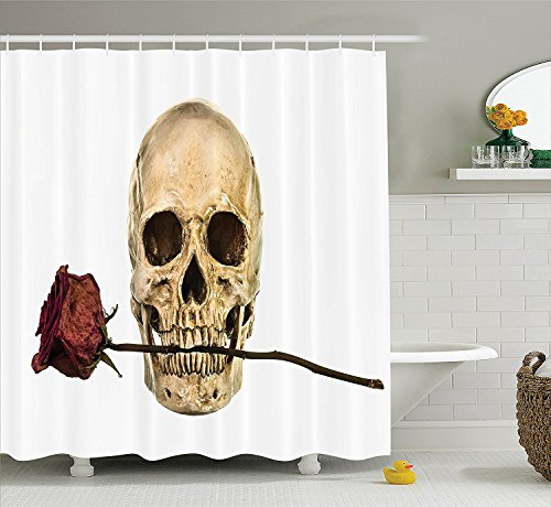 [Gothic Decor Collection Skull with Dry Red Rose in Teeth Anatomy Death Eye Socket Jawbone Halloween Art Polyester Fabric Bathroom Shower Curtain Ivory] (Camper Gothic Costumes)