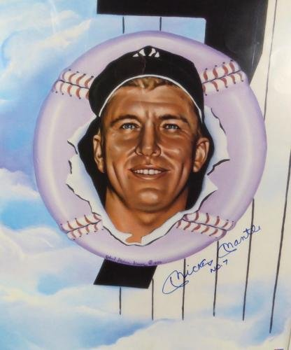 Mickey Mantle Autographed Framed 18x24 Yankees Litho Photo No. 7 129123 PSA/DNA Certified Autographed MLB Art