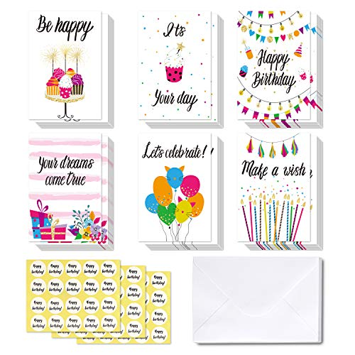 48 Happy Birthday Cards, Ohuhu Folded Card for Kids Birthday, Blank Inside Greeting Note Cards W/White Envelopes and Stickers, Candle, Cake, Balloon, Gift, Spark, Banner Designs Card Stocks
