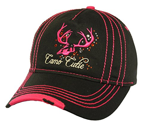 (Camo Cutie Womens Deer Skull Cap with Pink Trim and Skull logo Plus Free)