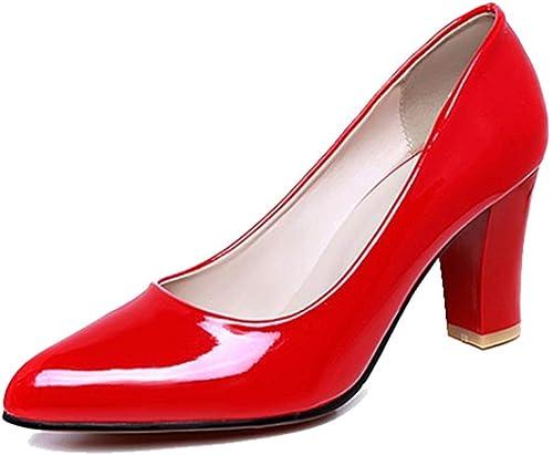 MURSFANDS Damen Elegante Spitzen Zehe Business Schuhe High Block Heels Lackleder Pumps Größe 35 45