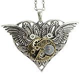 Steampunk Gearwork Angelic Wings Heart Necklace Alloy Pendant Jewelry