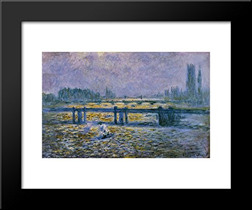 Charing Cross Bridge, Reflections on the Thames 20x24 Framed Art Print by Monet, Claude