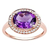 10k Rose Gold Oval Amethyst and Diamond Halo Ring