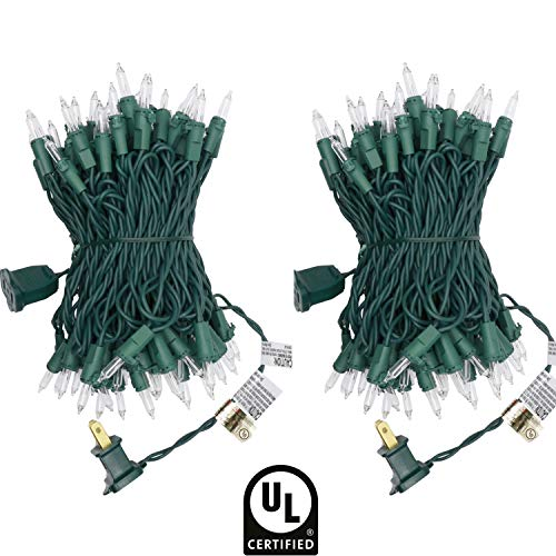 UL Certified 66 Feet 200 Count Clear Christmas String Lights, Pack of 2 Sets 33 Ft 100 Count Commercial Grade Lights Set, Connectable Decor Lights for Patio Garden Wedding Holiday - Light Set Green Wire