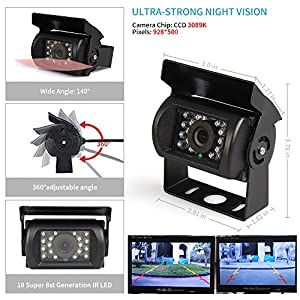 """CAR ROVER Wireless Backup Rear View Camera Monitor Kit with 7"""" HD Display and 18 Waterproof Night Vision LED for Truck Van Caravan Trailer RV"""