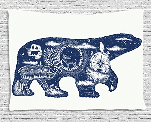 Ambesonne Cabin Decor Tapestry by, Cosmic Fantasy Polar Bear Tattoo Art Magical Boho Northern Nature Compass, Wall Hanging for Bedroom Living Room Dorm, 60 W X 40 L Inches, Dark Blue White