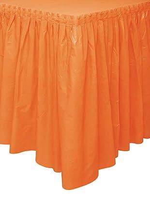 Unique Party- Falda de mesa de plástico, Color naranja, 420 cm ...