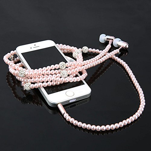 Luxury Diamond Necklace Chain Earphone hand free Hi-Fi Wired Stereo headset For Smart Phone/iphone
