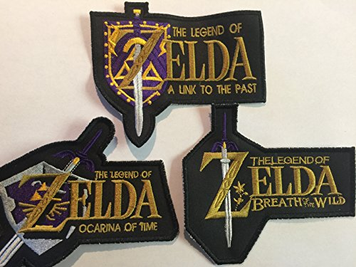 LOT of (3) ZELDA PATCHES BREATH of the WILD OCARINA of TIME A LINK to the PAST 4x4 INCH RARE!