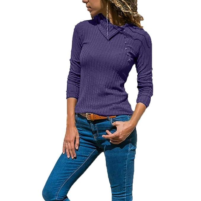Suéter para Mujer Collar de Solapa, Botón de Manga Larga de Color sólido