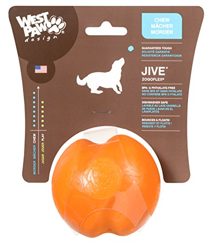 West Paw Design Zogoflex Jive Guaranteed Tough Dog Ball Chew Toy, Large 3-1/4-Inch, Tangerine