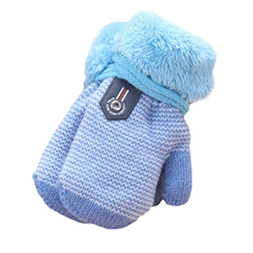Amiley Infant Baby Girls Boys Warm Knitted Gloves Thick Fur Liner Mittens Winter (Sky Blue)
