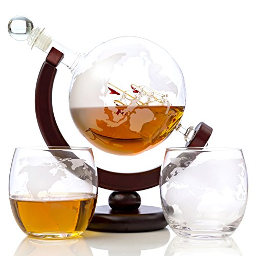 Full Lead Crystal Rose (Whiskey Globe Decanter Set – 850 ml with Two World Etched Whiskey Glasses (300ml) Wooden Base and Safe Package – Perfect Gift Set for Liquor, Scotch, Bourbon, Vodka and Wine)