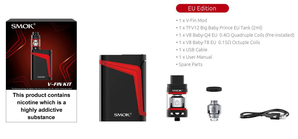 Authentic SMOK V FIN Kit 160W 8000 mAh TFV12 Big Baby Prince 2mL Tank E  Cigarette Starter Kit (Black/7 Color) w/ PEACEVAPE™ 1-Slot Slim Charger