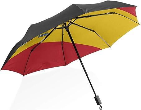 Paraguas de Lluvia para Hombres Bandera de Alto Detalle España Paraguas Plegable Compacto portátil Protección Anti UV A Prueba de Viento Viaje al Aire Libre Paraguas invertido Gigante para Mujer: Amazon.es: Equipaje