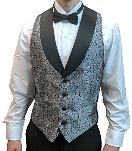 (Men's Silver Symphony Jacquard Tuxedo Vest with Black Lapel and Black Bow Tie Set-Large)