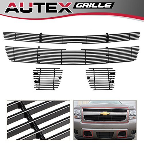 (AUTEX Main Upper + Tow Hook Billet Grille Combo Compatible With 2007 2008 2009 2010 2011 2012 2013 2014 Chevy Tahoe/Suburban/Avalanche Grill C67919H)
