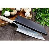 Yoshihiro Mizu Yaki Blue High Carbon Steel Super Kurouchi Kiritsuke Multipurpose Chef Knife (8.25 IN) with Nuri Saya