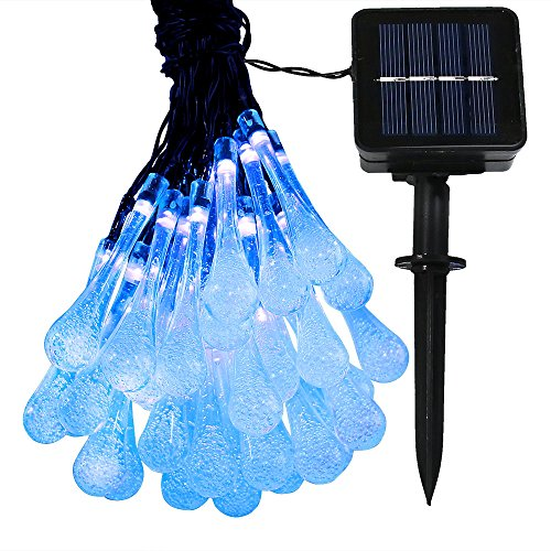 Sunnydaze 20 Foot 30-Count LED Solar Powered String Lights Outdoor Water Drop, Blue
