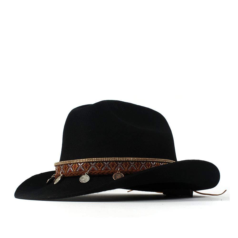 LL Women's 100% Wool Vintage Style Wool Blend Wide Stiff Brim Western Cowboy Hats Tassel Bohemia Ribbon Cowgirl Caps (Color : Black, Size : 56-59cm) by LL (Image #1)