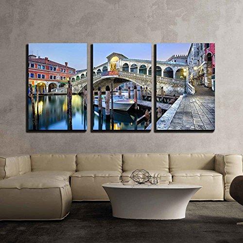 Morning Twilight Grand Canal and Rialto Bridge in Venice Italy x3 Panels