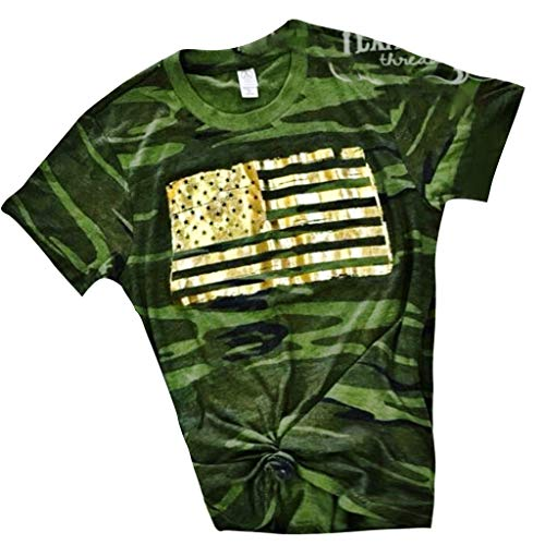 Women Fashion Shirt O-Neck Short Sleeve Tops American Flag Print Stitching Stripe 4th of July Slim Blouse Tunic Green S
