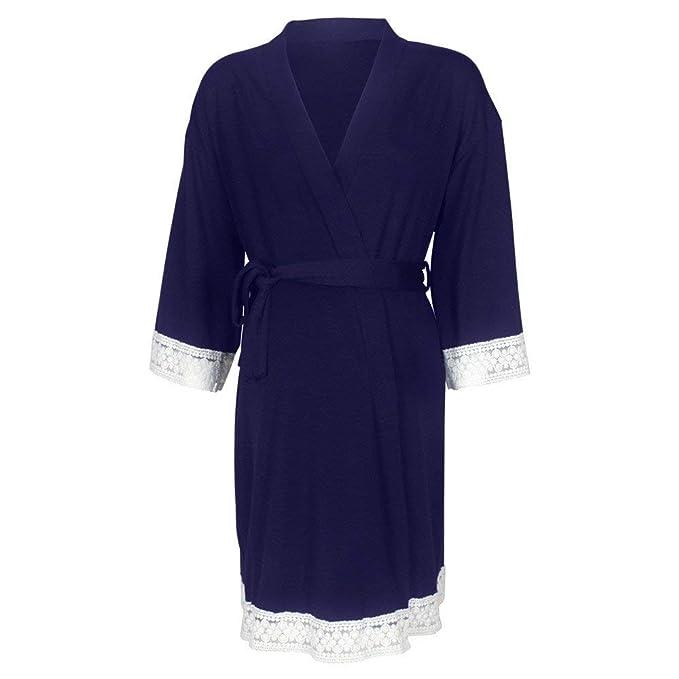 POLP Albornoz Mujer Pijama camisón Vestido Premamá Largo de Encaje de Mujer Embarazada de Maternidad Apoyos