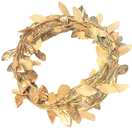 (Small Gold Leaves Wire Garland, 6 ft, Accent, Embellishment, Table top, Vase, Elegant Blooms & Things)